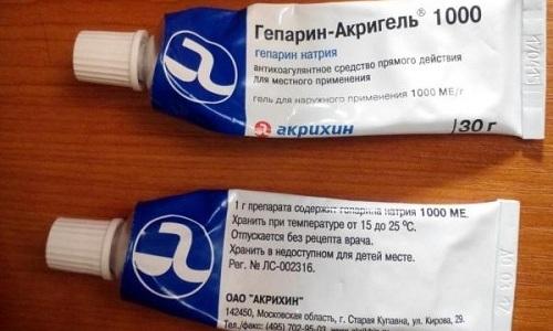 Гепарин-Акригель часто вводит в состав комплексного лечения варикоза