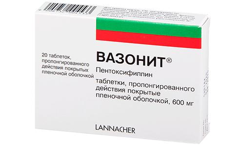 Аналогом медикамента Трентал 100 может выступать препарат Вазонит