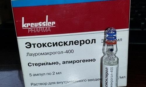 Этоксисклерол применяется для склеротерапии венозных сосудов при варикозе, варикоцеле, геморрое