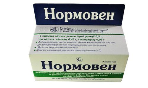 Нормовен оказывает венотоническое и ангиопротекторное влияние