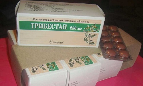 Таблетки Трибестан в пленочной оболочке коричневого цвета содержат 250 мг сухого экстракта травы якорцев стелющихся