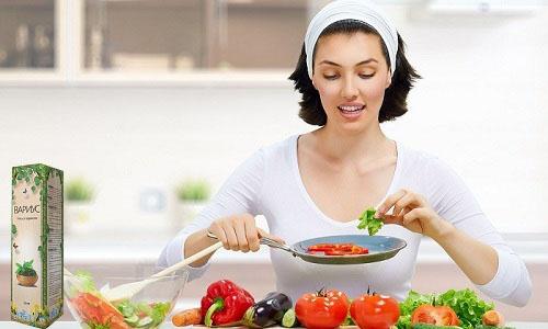 Усилить эффективность Вариуса помогает соблюдение диеты, исключающей продукты, отрицательно влияющие на состояние вен