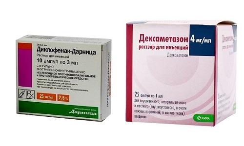 Дексаметазон и Диклофенак применяются одновременно для быстрого купирования острого болевого синдрома, спровоцированного травмой, обострением радикулита