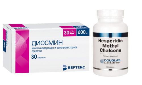 Для лечения патологий вен и с профилактической целью часто назначают Диосмин и Гесперидин