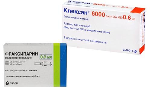 Фраксипарин или Клексан применяются для предотвращения образования тромбов