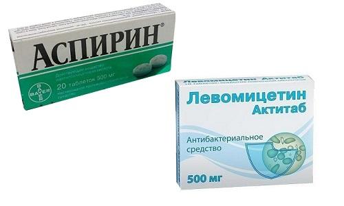 Левомицетин и Аспирин могут применяться для терапии воспалительных заболеваний кожи и угрей