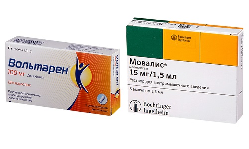Устранить воспалительные процессы, развивающиеся в суставах и позвоночнике помогут препараты Мовалис или Вольтарен
